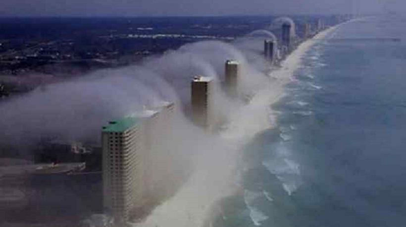 nevoeiro formado na costa da Flórida